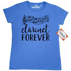 Clarinetist Women's T-Shirt marching band music gift idea with musical staff and clarinet forever quote. $14.99 www.schoolmusictshirts.com
