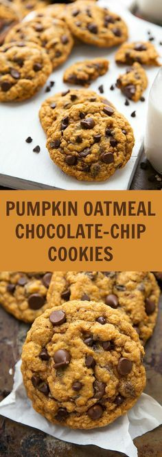 A delicious and simple-to-make pumpkin oatmeal chocolate-chip cookie that is crisp on the outsides and chewy in the center.