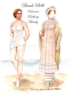 Our Victorian bathing beauty shows you what to wear to the beach if you actually intend to get in the water, at least according to the ladies magazines.  4 pages, $30. To see more, click here  http://www.fancyephemera.com/historicalfigsfashion.html#BEACHBELLE
