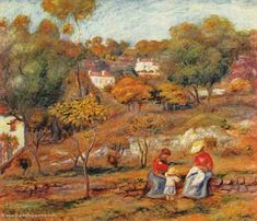 """Pierre Auguste Renoir, Landschaft bei Cagnes Impressionismus Das Gemälde """"Landschaft bei Cagnes"""