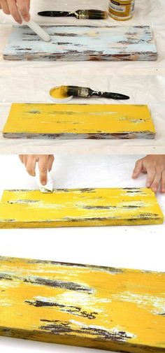 Ultimate guide on how to distress wood and furniture. Video tutorials of 7 easy painting techniques that give great results of aged look using simple tools. Distressed Wood Furniture, Distressed Painting, Weathered Wood, Repurposed Furniture, Painting On Wood, Matte Painting, Diy Painting, Distressing Wood, Vintage Furniture