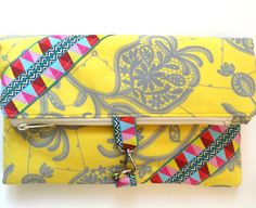 Sunny Fold Over Clutch Pattern #sewing