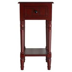 """1-drawer wood end table with hand-carved legs and a lower shelf.   Product: End tableConstruction Material: Sold wood, wood veneers and metalColor: RedFeatures:  One drawerMetal knobHandcrafted Dimensions: 28"""" H x 14"""" W x 14"""" D"""