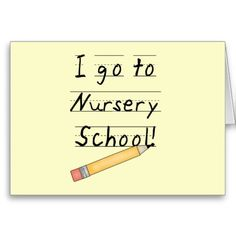 Lined Paper and Pencil Nursery School Greeting Cards
