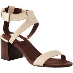 See by Chloé Block Heeled Sandals, Nude ($325) ❤ liked on Polyvore featuring shoes, sandals, leather sandals, nude heel sandals, low heel sandals, nude flat sandals and strappy sandals