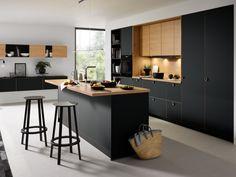 Black Kitchens - Schuller by Artisan Interiors Kitchen Room Design, Modern Kitchen Design, Kitchen Interior, Kitchen Decor, Kitchen Ideas, Black Kitchen Cabinets, Kitchen Cabinet Remodel, Black Kitchens, Kitchen Black