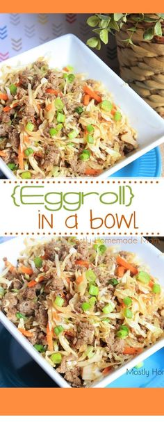Thursdays - Asian Meals // Eggroll In A Bowl- This Eggroll in a Bowl recipe has all the flavors of a traditional egg roll, cooked in a skillet, without the fried wrapper! The low carb way to enjoy your favorite Chinese takeout food! Pork Recipes, New Recipes, Cooking Recipes, Healthy Recipes, Recipies, Cooking Tips, Recipes Dinner, Sausage Recipes, Cooking Food