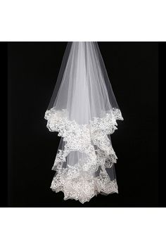 Two Tier Mid Length Veil with Applique Trim