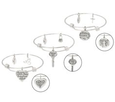 Extraordinary Life Set of 3 Sterling Silver Charm Bangles with Gift Boxes