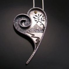 Metal Jewelry Pinner says : Made of Metal, but I could see polymer clay and wire. Photos - Boulder Metalsmithing Association (Boulder, CO) - Meetup - Metal Clay Jewelry, Polymer Clay Jewelry, Jewelry Art, Jewelry Design, Precious Metal Clay, I Love Heart, Schmuck Design, Heart Art, Clay Creations