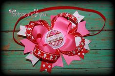 babys first Valentines day hair bow Headband by tootoocute4you