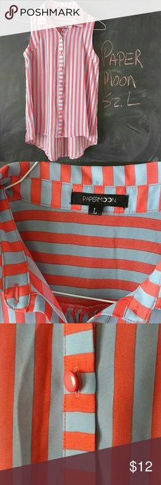 Paper Moon Sleeveless Top Sz L Paper Moon sleeveless top.  Sz L.  Coral and blue stripes.  Sheer polyester material.   Bust up to 40 in. Length in front 25 in. Length in back 31.5 in  Great condition. Smoke and Pet free environment.  No trades. Paper Moon Tops