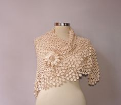 A Little Tenderness / Crochet Lace Shawl Scarf Wrap by lilithist
