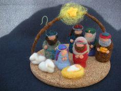 Escena de la Natividad de Navidad fieltro de aguja con lana