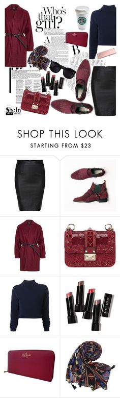 """""""SheIn Skirt ♥"""" by av-anul ❤ liked on Polyvore featuring Topshop, Valentino, Dion Lee, Bobbi Brown Cosmetics, Kate Spade, Karen Walker, shein and avanul"""