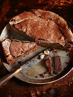 chocolate meringue cake teamed with a pile of fresh berries on top like the artful desperado blog.