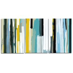 The 'Ocean Triptych'' modern canvas wall art piece by Maxwell Dickson will complement any environment. This museum quality, gallery wrapped canvas accentuates the vibrant shades of blue and gold with