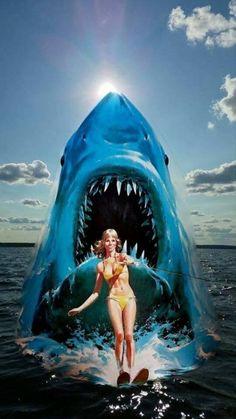 Jaws Film, Jaws 2, Jaws Movie, Horror Icons, Horror Art, Horror Movies, Andre Luis, Shark Art, Big Shark