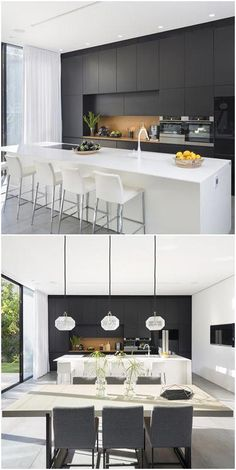 Another stand-out feature of this simple yet modern house is the contemporary black and white kitchen. Sleek, classy, and eye-catching, the black and . Modern Kitchen Cabinets, Modern Kitchen Design, Kitchen Layout, Interior Design Kitchen, Modern Design, Black And White Interior, White Interior Design, Black And White Furniture, Kitchen On A Budget