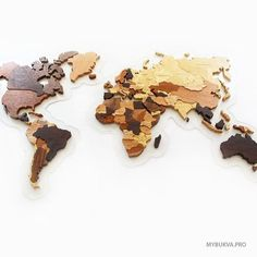 Picture of wood world map.