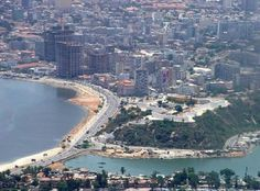 Luanda, Angola from a helicopter Angola Africa, Paises Da Africa, Across The Border, Congo, African Nations, Atlantic Beach, Future Travel, Beautiful Places To Visit, Africa Travel
