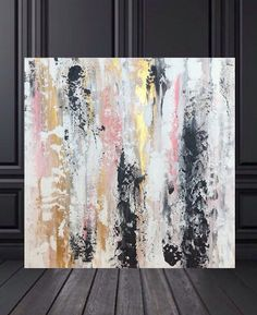 FREE SHIPPING Large black and gold artwork pink by GlamGoldArt