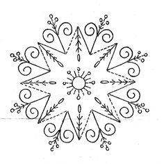 Vintage Embroidery Patterns nice combination of simple geometric with swirl and floral with dots that are repeated on outside flowers - for personal use only - do not sell