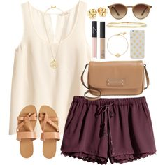Burgundy Shorts by lauren-hailey on Polyvore featuring polyvore fashion style H&M KYMA Marc by Marc Jacobs Tory Burch Ippolita Nashelle Ray-Ban Kate Spade NARS Cosmetics