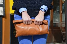 Blue outfit - American Apparel hand bag / Swatch watch / Aurore Havenne bracelet