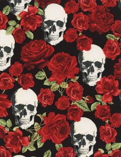 Timeless Treasures Skulls And Roses 100% Cotton Fabric By The Yard