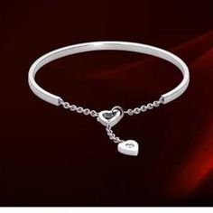 Cartier 18k White Gold Heart Decor Chain Bracelet with Diamonds ,  Free Shipping,Save Up To 40% Off