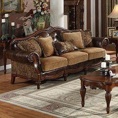 Acme Furniture 05495 Dreena Sofa w/5 Pillows, PU & Chenille