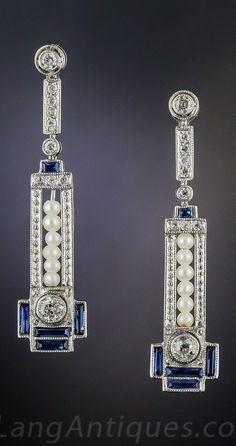 Art Deco era pearl, sapphire and diamond earrings #diamondjewelry