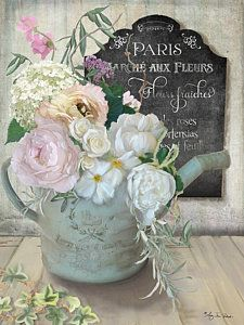 Painting - Marche Paris Fleur Vintage Watering Can With Peonies by Audrey Jeanne Roberts