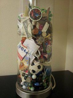 A mother kept items from her sons pockets for years and presented the lost treasures as a wedding gift. Great idea!!!