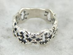 Fantastic White Gold Signet Ring with Ornate Open by MSJewelers