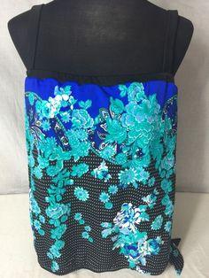 Maxine of Hollywood Tankini Top Size Large Black Polka Dot Blue Floral B10 | eBay