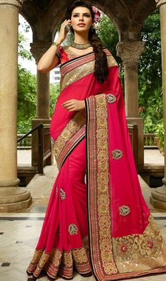 Let your presence be like the sunshine in a cloudy day with this pink color embroidered georgette and net sari. The fantastic sari creates a dramatic canvas with astounding lace, stones and resham work.  #buttaworksaree #rosepinkcolorsaris #casualsarees