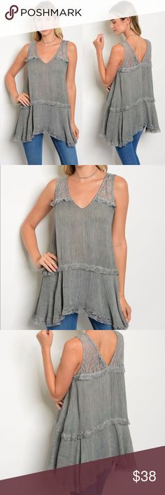 Sleeveless Tunic Top A v-neckline, lace trim, and asymmetrical hem give this tunic its appeal. Relaxed fit, generously cut. Charcoal gray. Tops Tunics