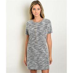Women's Dress Grey And White Shift Dress