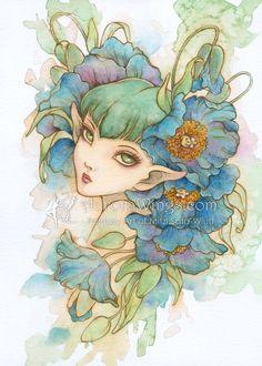 Free US Shipping - Himalayan Blue - Blue Poppy - Meconopsis- Big Eye Elf Fairy - Fantasy Illustration Print 5 x 7 - by Mitzi Sato-Wiuff