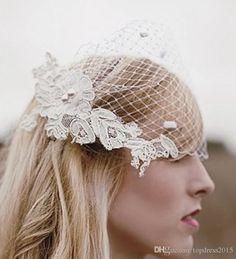 blanc classique voiles birdcage court visage accessoires cheveux mariage d'un niveau court tulle 2015 qq coiffes de mariée bon marché(China (Mainland))