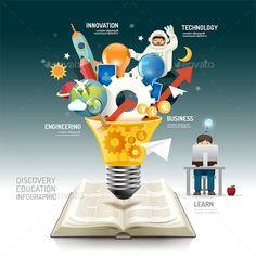 Open Book Infographic Innovation Idea On Light Bulb Vector. Stock Vector - Illustration of discovery, business: 51357520 Book Infographic, Flower Graphic Design, Graphic Design Trends, Innovation, Web Design, Logo Design, Print Design, Illustrations, Tecnologia