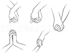 How To Draw Holding Hands, Step by Step, Drawing Guide, by Dawn