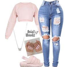 Cute Lazy Outfits, Baddie Outfits Casual, Swag Outfits For Girls, Teenage Girl Outfits, Cute Swag Outfits, Girls Fashion Clothes, Teen Fashion Outfits, Girly Outfits, Look Fashion