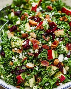 Potluck Side Dish Recipes: 24 Quick and Easy Potluck Side Dishes — Easy Salads, Healthy Salad Recipes, Delicious Recipes, Thanksgiving Table, Christmas Salad Recipes, Christmas Potluck, Holiday Dinner, Bacon Kale, Salads