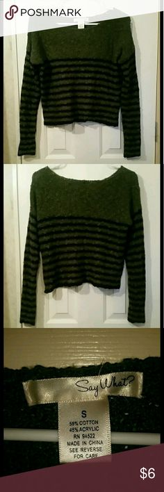 Long Sleeve Knit Striped Crop Top Black and green striped. Textured. There is a thread at the hem that is a tiny bit loose but still in tact. Tops Crop Tops