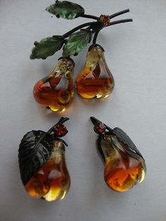 Vintage Fruit Austria Double Glowing Glossy Pear Brooch Pin and Earring Set