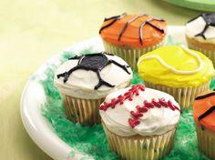 Ball Game Cupcakes - perfect for G's 6th birthday. Doing soccer, football, baseball & basketball cupcakes.