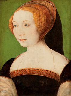 File:Follower of Corneille de Lyon Portrait of a Lady.jpg. Possibly c.1550s based on garment and hood style. Note what appears to be a golden hood, of damask or brocade, which is very unusual for a French hood.